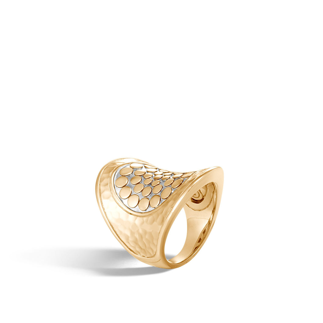 HAMMERED SADDLE RING WITH DIAMONDS