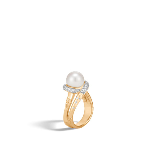 BAMBOO RING WITH PEARL AND DIAMONDS