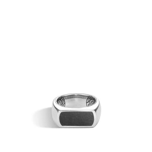 CLASSIC CHAIN BAND RING WITH BLACK ONYX