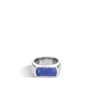 CLASSIC CHAIN BAND RING WITH LAPIS LAZULI