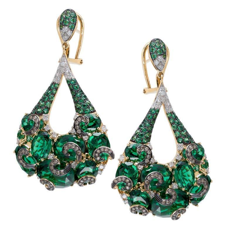 18K Emerald Earrings With Sapphire And White Diamonds