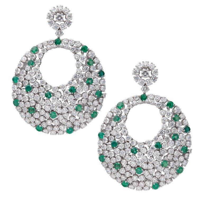18K Diopside Earrings With Black And White Diamonds
