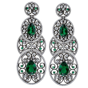 18K Emerald Earrings With White Diamonds