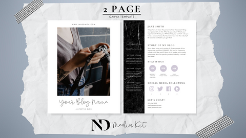 2 Page Media Kit Template - Black Bar