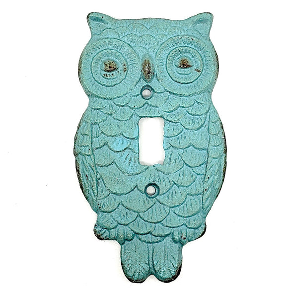 Cast Iron Turquoise Owl Single Light Switch Plate.