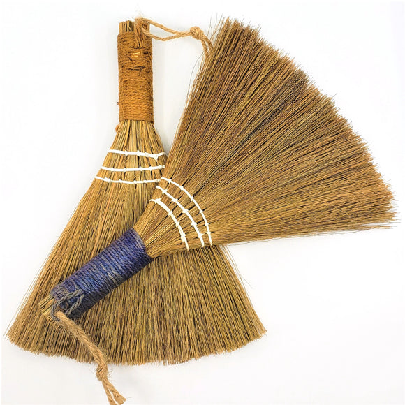 Handmade Straw Handheld Brooms Dusters with Orange and Blue Jute Wrapped Handle