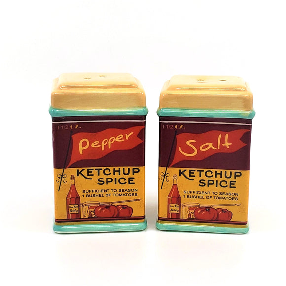 Retro Themed Ceramic Salt & Pepper Shaker Set