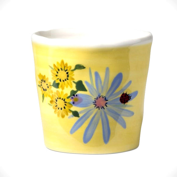 Hand-Painted Yellow Days Earthenware Planter with Floral & Ladybug Design