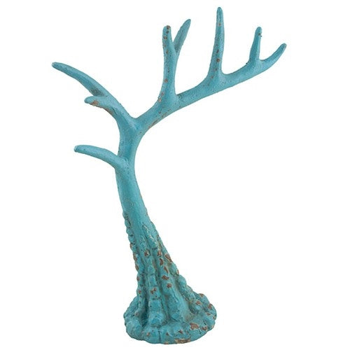 Tall Rustic Teal Antler Jewelry Stand