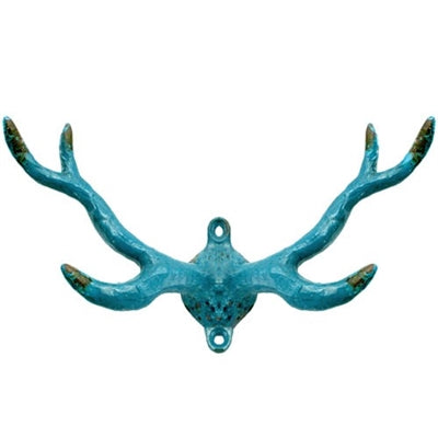 Distressed Blue Cast Iron Antler Wall Hook