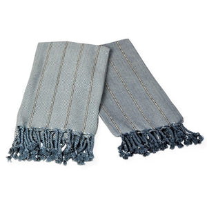 Set of 2 Hudson Cotton Hand Towels with a blue striped design and fringed ends