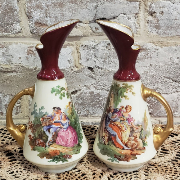 Pair of Vintage Hand-Painted Limoges France CW Vases