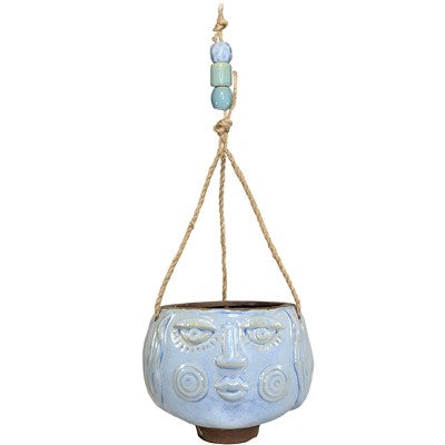 Light Blue Ceramic Hanging Maya Girl Planter