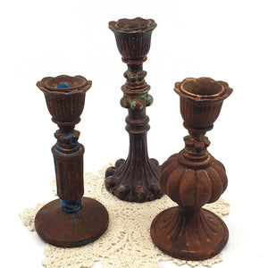 Antique Style Ornate Candlestick Holders.