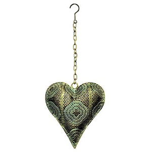 Gold and sage metal hanging heart decor.