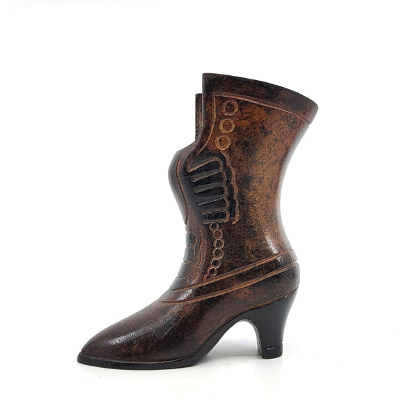 Vintage 3 inch solid brass boot figurine