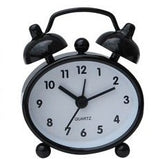Black miniature retro metal alarm clock