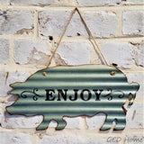 """Enjoy"" Corrugated Tin Sign Shaped as a Pig."