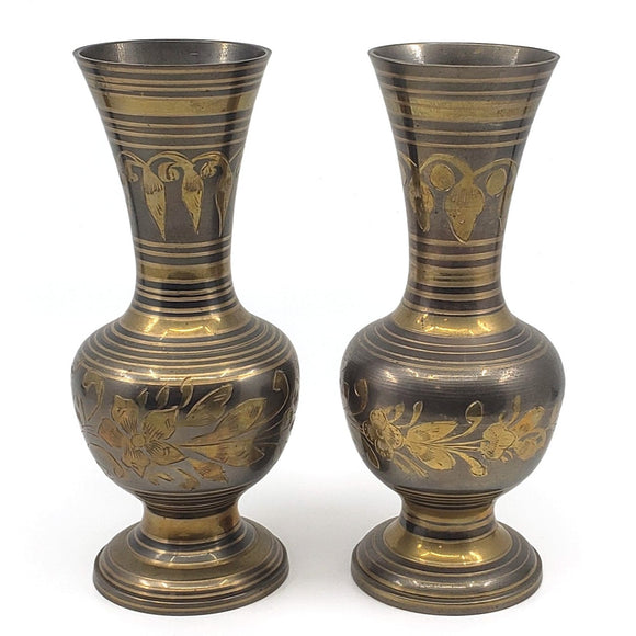 Pair of matching vintage etched brass vases with floral and striped pattern.