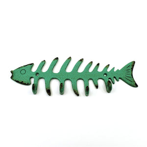 Green cast iron fish skeleton wall mounted hook