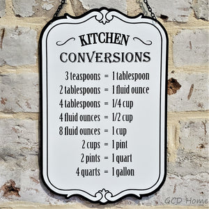 "Retro style metal sign for ""kitchen conversions""."