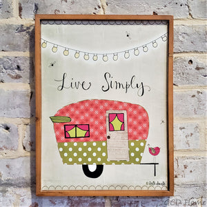 "Retro Camper ""Live Simply"" Wooden Wall Decor."