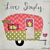 "Print of a retro green and pink Camper ""Live Simply""."
