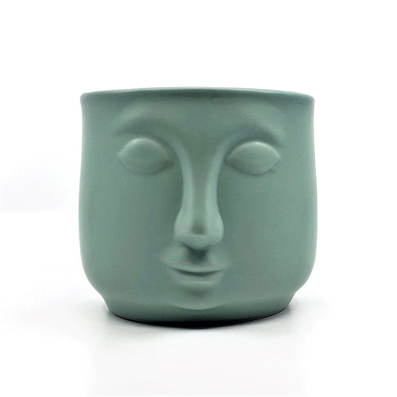Sage green ceramic mod face planter.