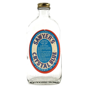 Vintage Sawyer's Crystal Blue 10 Oz Glass Bottle