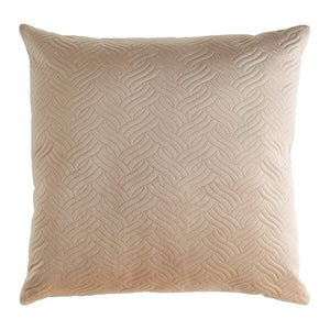 24 inch square taupe colored velvet throw pillow.