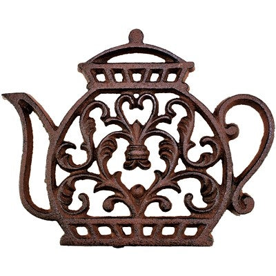 Brown cast iron teapot trivet.