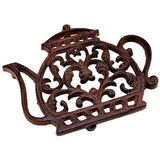 Ornate cast iron teapot shaped trivet.