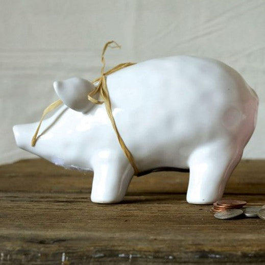 White ceramic piggy bank