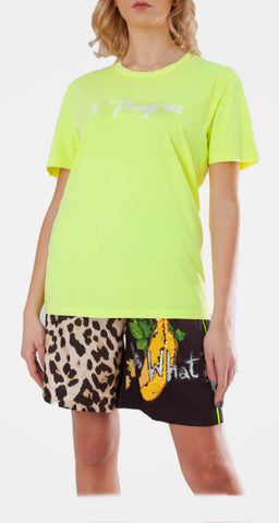 5PROGRESS T-shirt Giallo Fluo con Logo