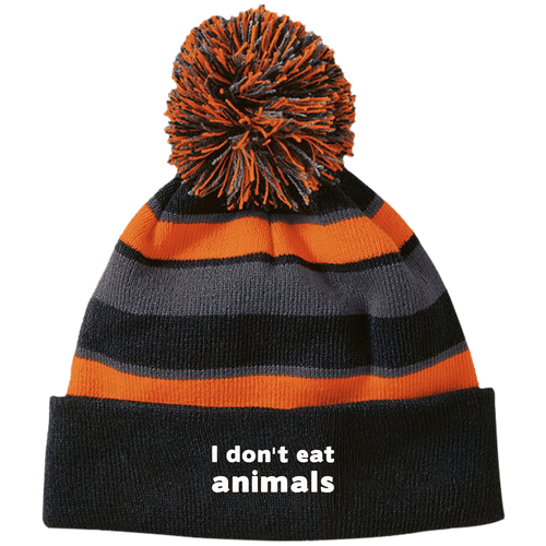 I Don't Eat Animals - Striped Beanie with Pom