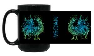 15 oz. Black Coffee Mug - VEGAN SWIRLY ROOSTER