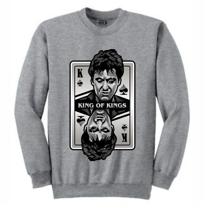 King of Kings Scarface Grey Crewneck (Deck of Cards Collection)
