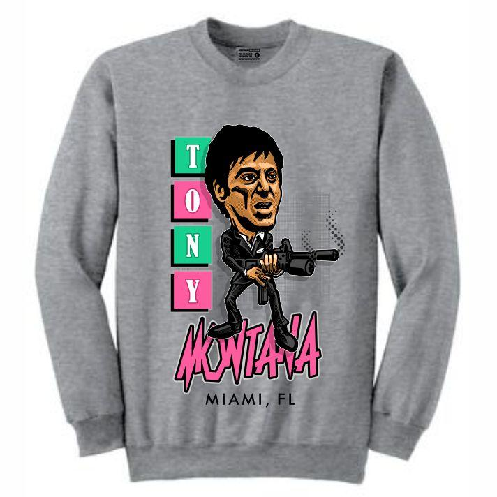 Scarface Grey Crewneck (Caricature Collection)