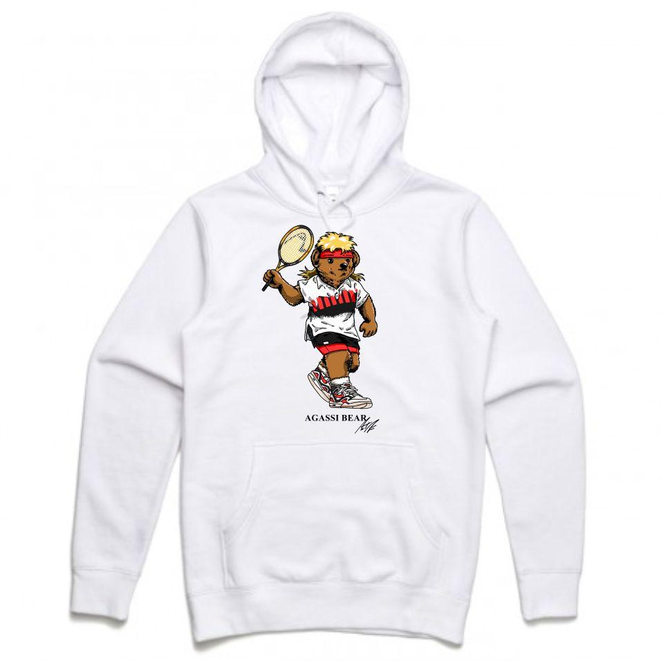 Agassi White Hoodie (Bear Collection)