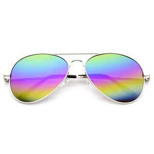 Retro Festival Rainbow Mirror Lens Metal Aviator Sunglasses 9472