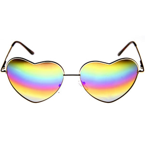 Women's Super Cute Flash Lens Metal Heart Sunglasses 9482