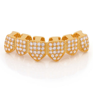 14K Gold CZ Studded Teeth Grillz