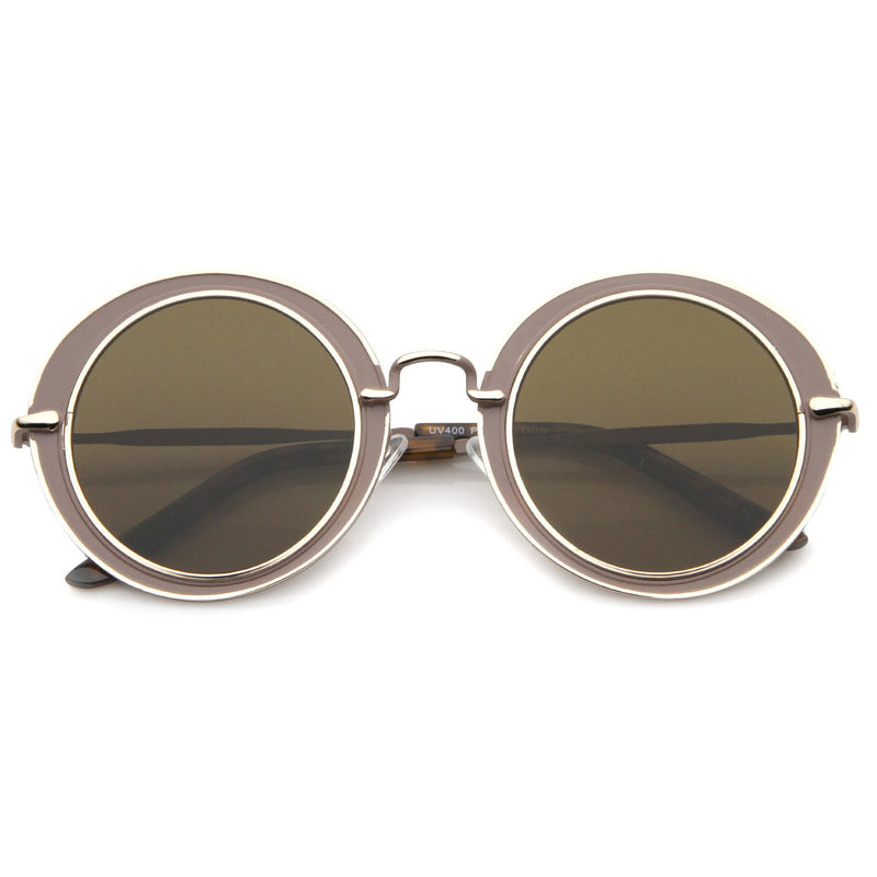 Retro Modern Flat Lens Oval Outline Sunglasses A484