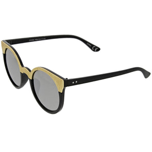 Women's Round Metallic Trim Cat Eye Sunglasses A749