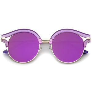 Women's Round Transparent Horned Rim Flat Lens Sunglasses A791