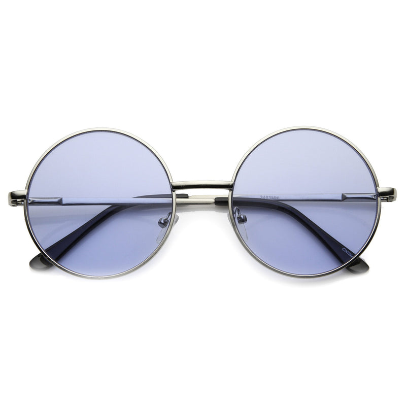 Retro Hippie Mid Sized Round Color Lens Sunglasses 9814