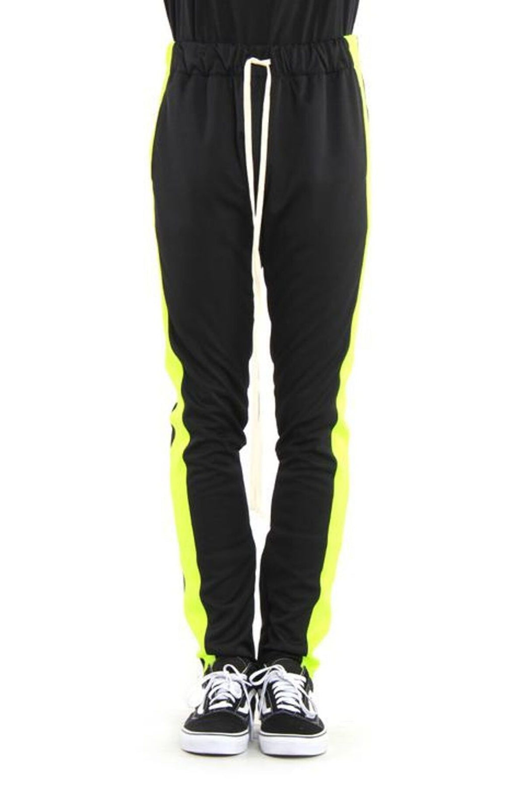 BLACK/NEON GREEN-TRACK PANTS