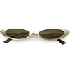 Retro 1990's Small Slim Flat Lens Metal Cat Eye Sunglasses C716