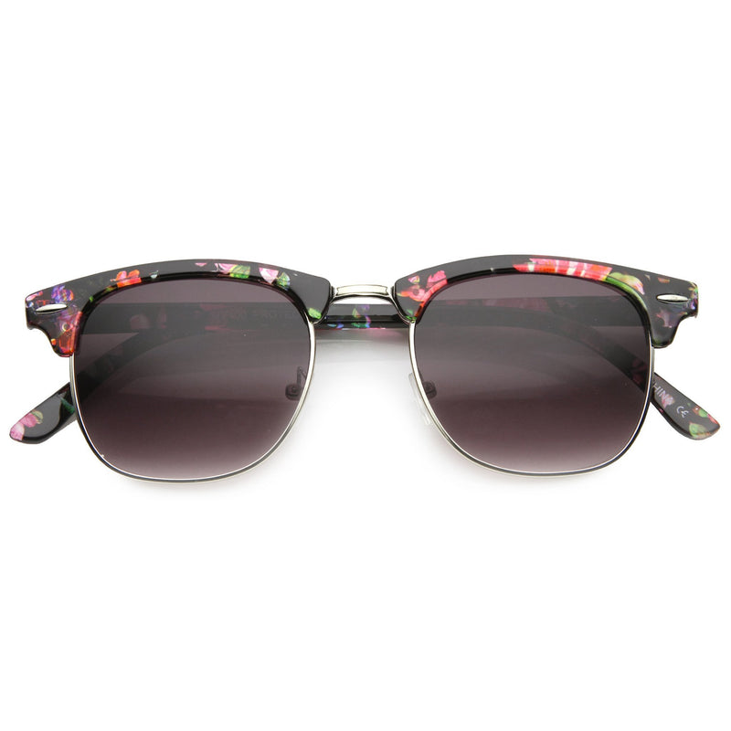Women's Retro Half Frame Floral Pattern Sunglasses 9775