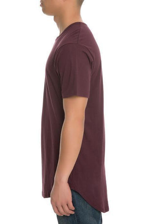 CB Tall Scallop Bottom Tee (Wine)